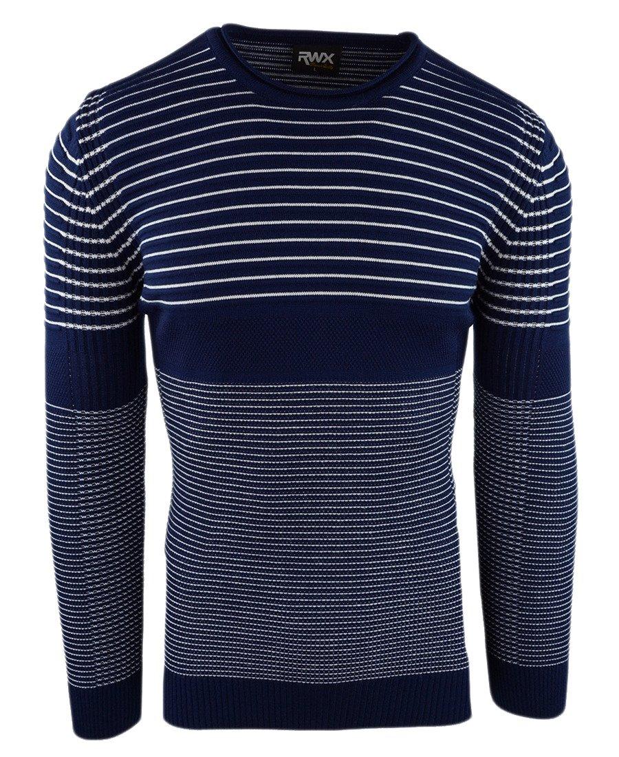 dec65ceeef56 Granatowy sweter męski w paski 1014