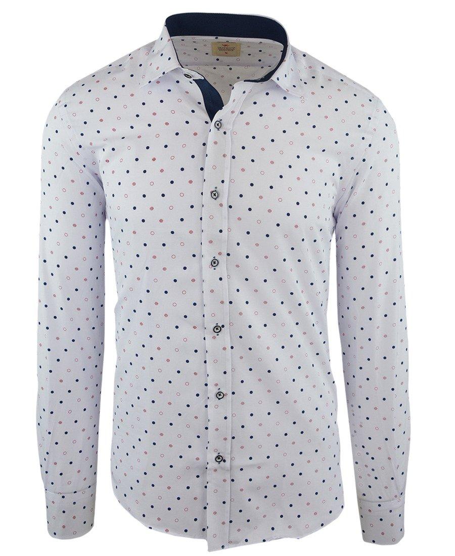 751e92bfa5be85 Koszula męska z długim rękawem, biała w kolorowe kółka 094 | TRIWENTI |  Sklep internetowy Merits.pl