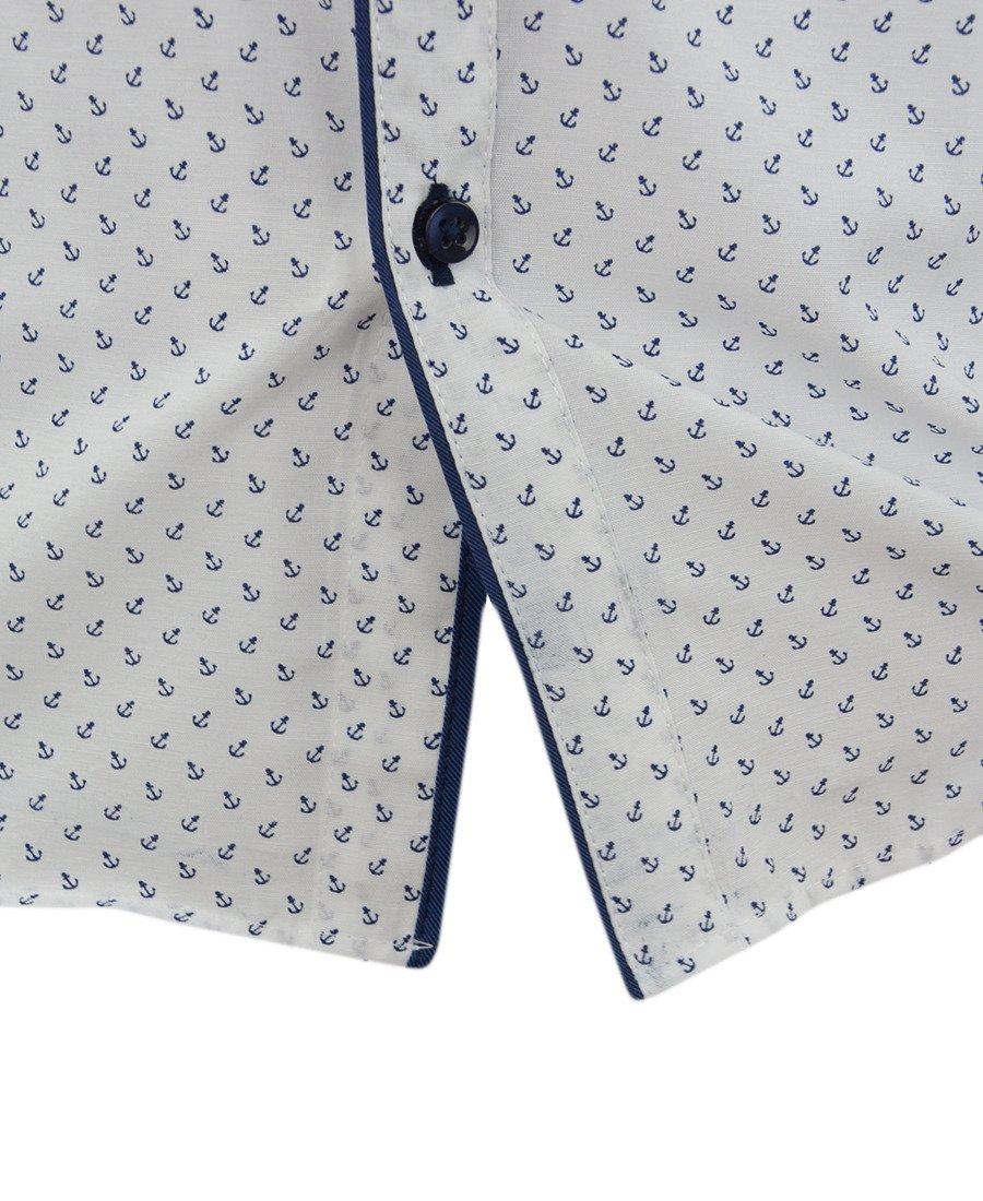 Koszula męska z długim rękawem, biała w kotwice 0107  uMVcO
