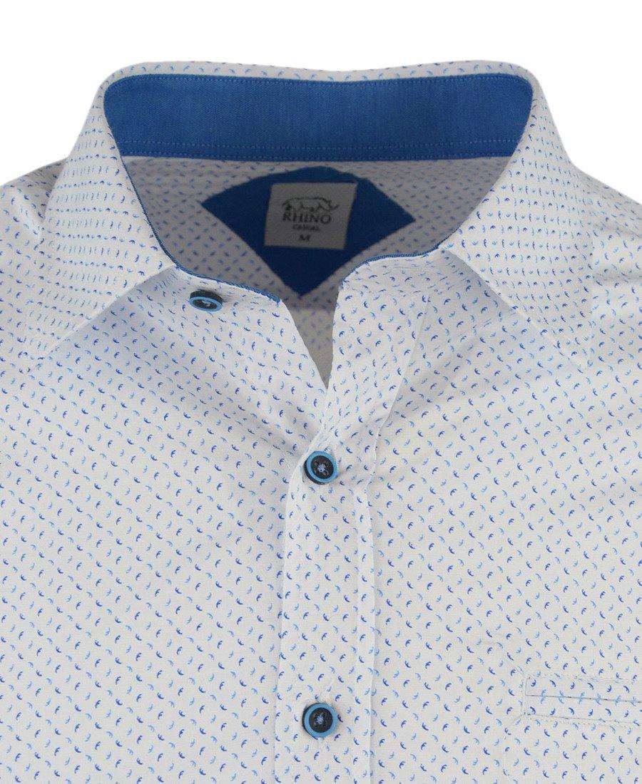 Koszula męska z długim rękawem, biała we wzór 0111   RHINO  uoNpM