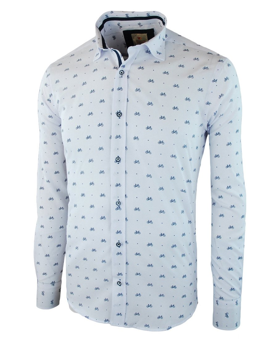 a0142cc954c759 Koszula męska z długim rękawem w kolorze białym 049 | TRIWENTI | Sklep  internetowy Merits.pl