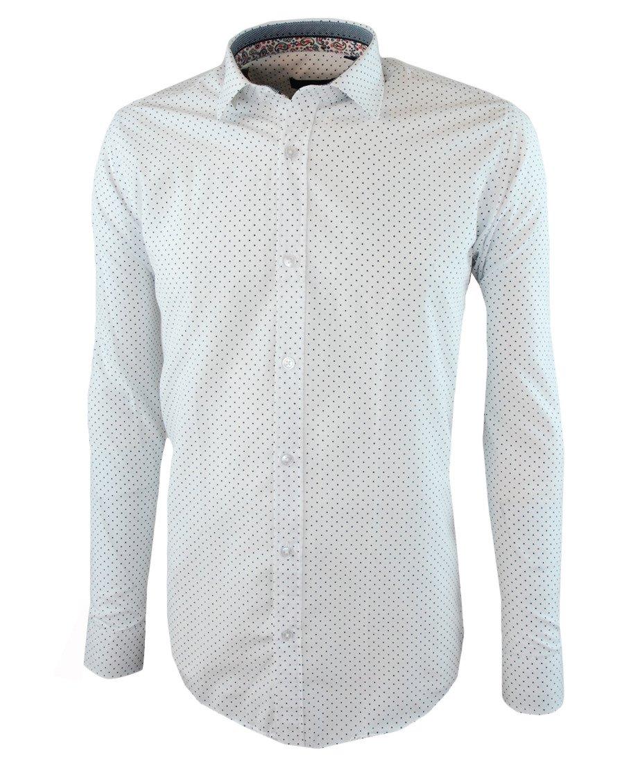 cc87e03b95efed Koszula męska z długim rękawem w kolorze białym, w czarne kropki 029 | GOLF  CLUB | Sklep internetowy Merits.pl