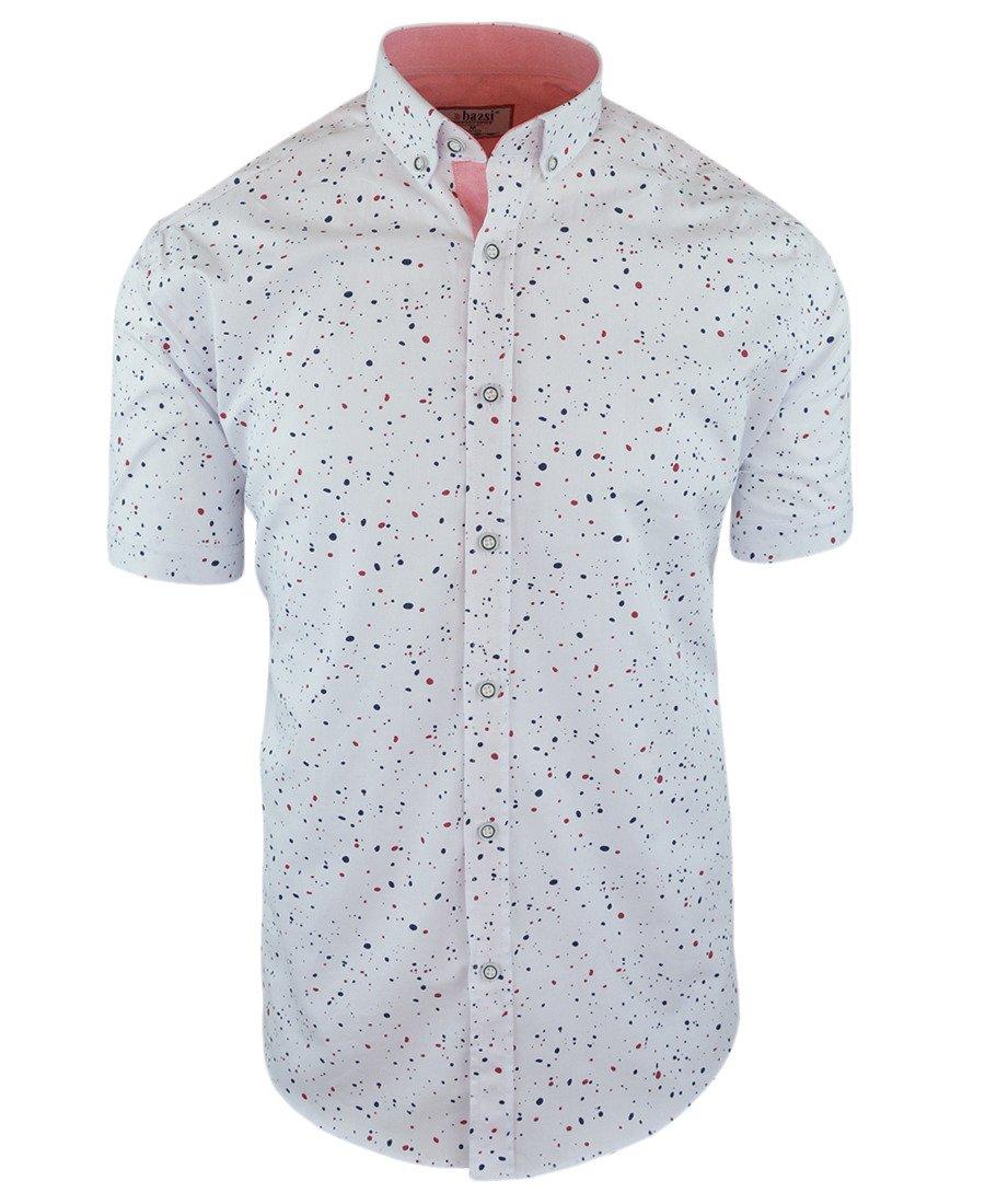 c5d5cbe5e0ee94 Koszula męska z krótkim rękawem, biała we wzór 0130 | BASSI | Sklep  internetowy Merits.pl