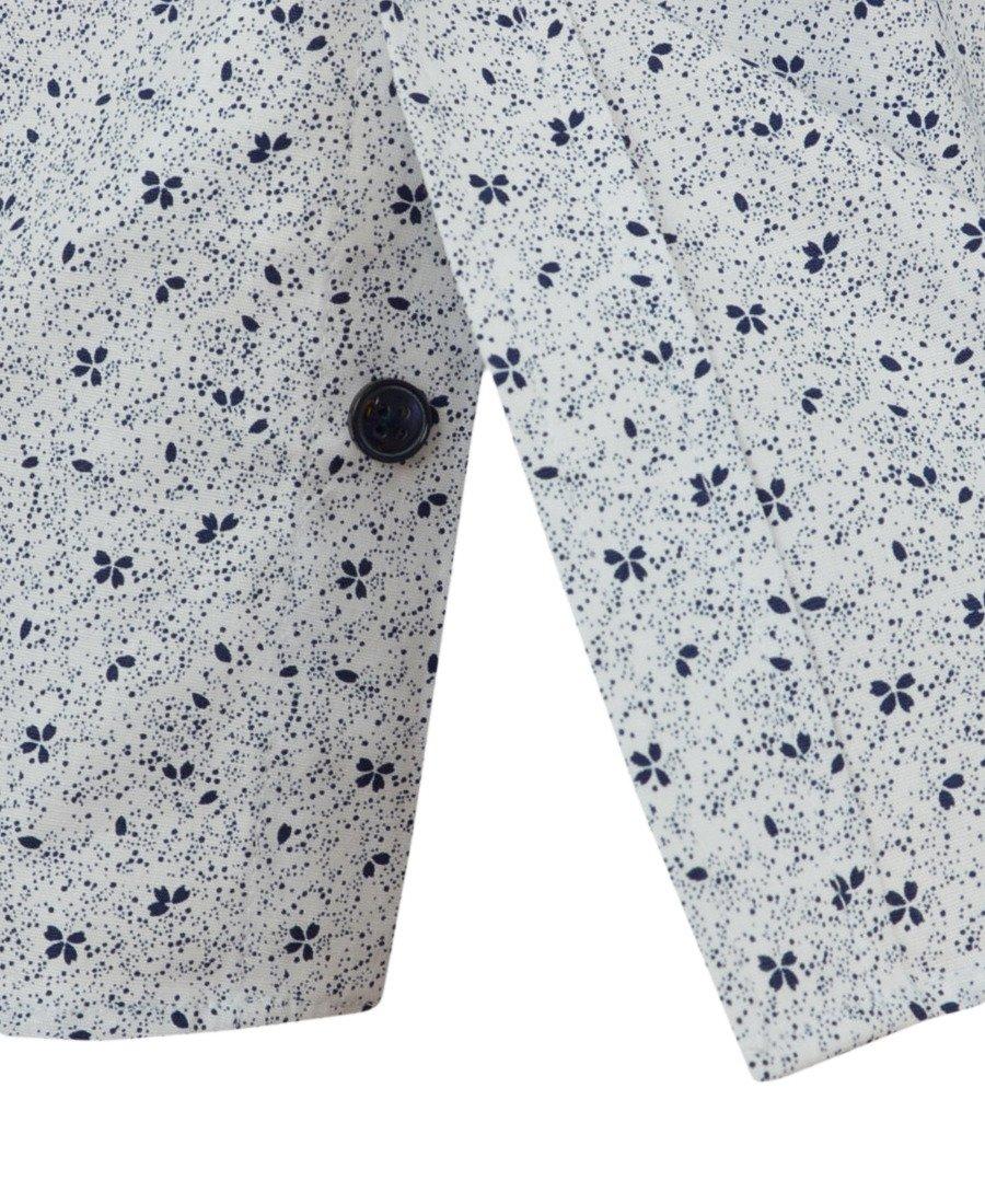 Koszula męska z krótkim rękawem, biała we wzór 0162  TIedO