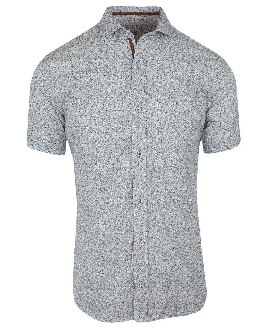 Koszula męska z krótkim rękawem, szara we wzór 0160