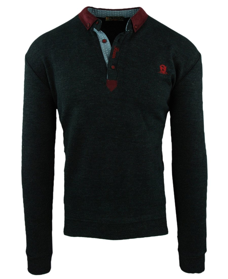 6a34f0a496cf Sweter męski w kolorze ciemno-grafitowym z kołnierzem K-1-1
