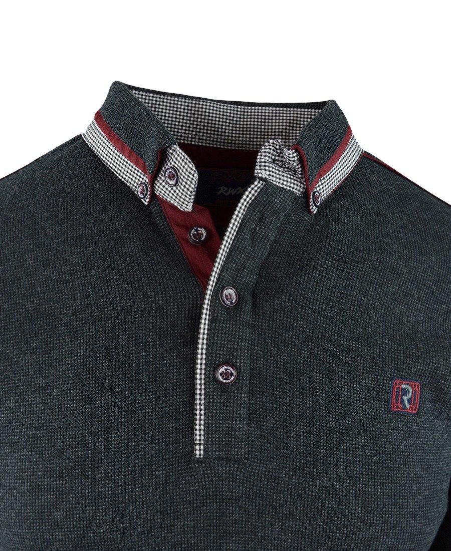 c4af6a126281 ... Sweter męski w kolorze grafitowym z kołnierzykiem 14-5317 Kliknij