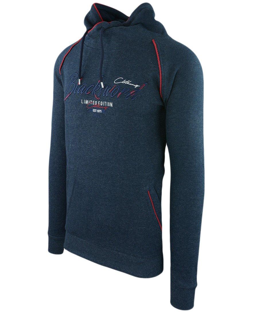 8e881fb14411 Sweter męski w kolorze granatowym z kominem 14-5326-1
