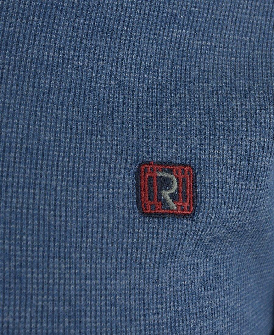 5ae950f0c494 ... Sweter męski w kolorze niebieskim z kołnierzykiem 14-5317-3 Kliknij