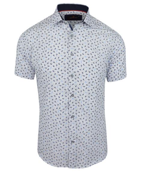 ac6f82feeb3b32 Koszula męska z krótkim rękawem, biała we wzór 0145