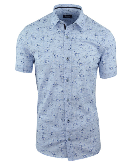 f925b7b4affb5 Koszula męska z krótkim rękawem, niebieska we wzór 0148