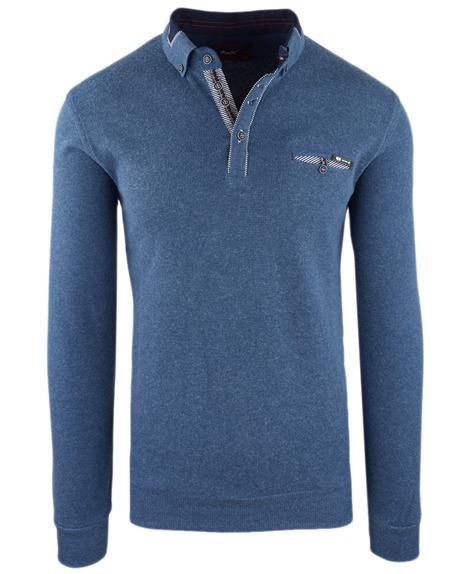 42d10a8229a0 Sweter męski z kołnierzykiem w kolorze niebieskim 14-5346
